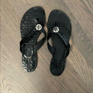 Black Leather Tory Burch Thora Flip Flop